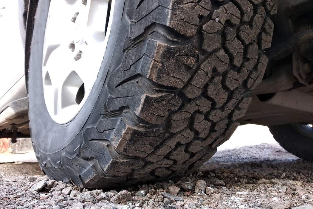 All-terrain tire with tread showing