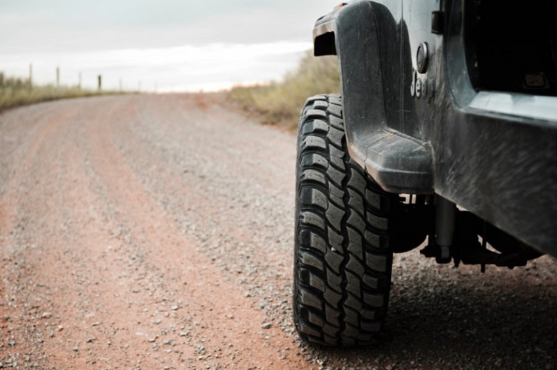 Side shot of an off-road tire